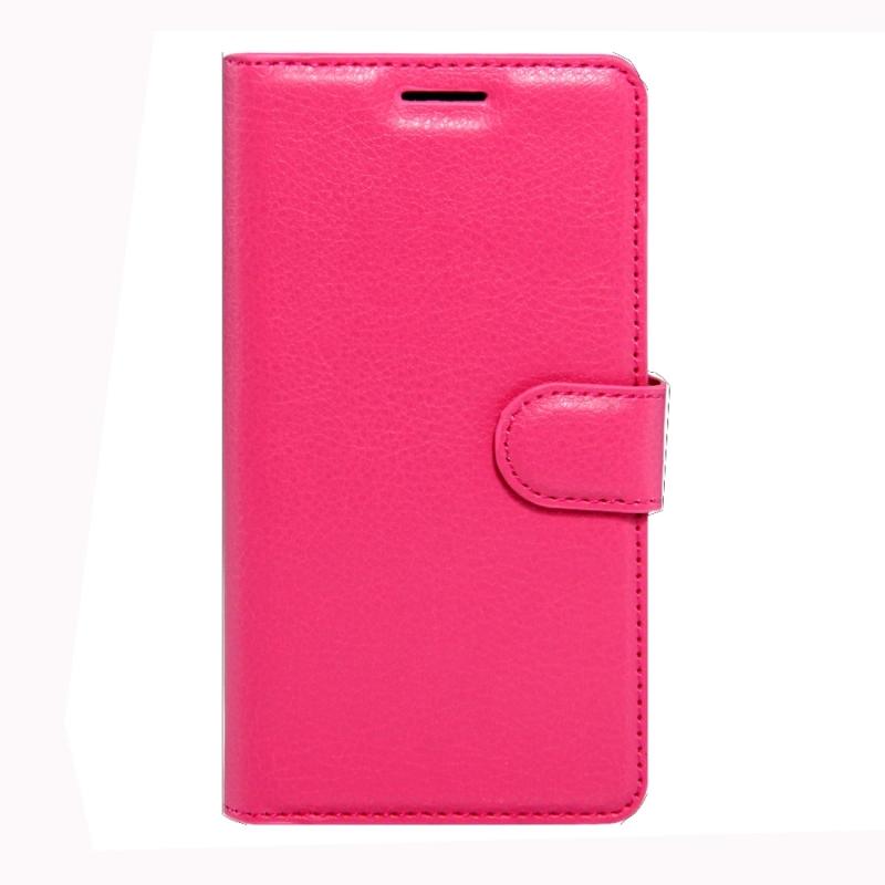 Sony Xperia XZs & XZ horizontaal Litchi structuur PU leren Flip Hoesje met houder  magnetische sluiting en opbergruimte voor pinpassen & geld (hard roze)