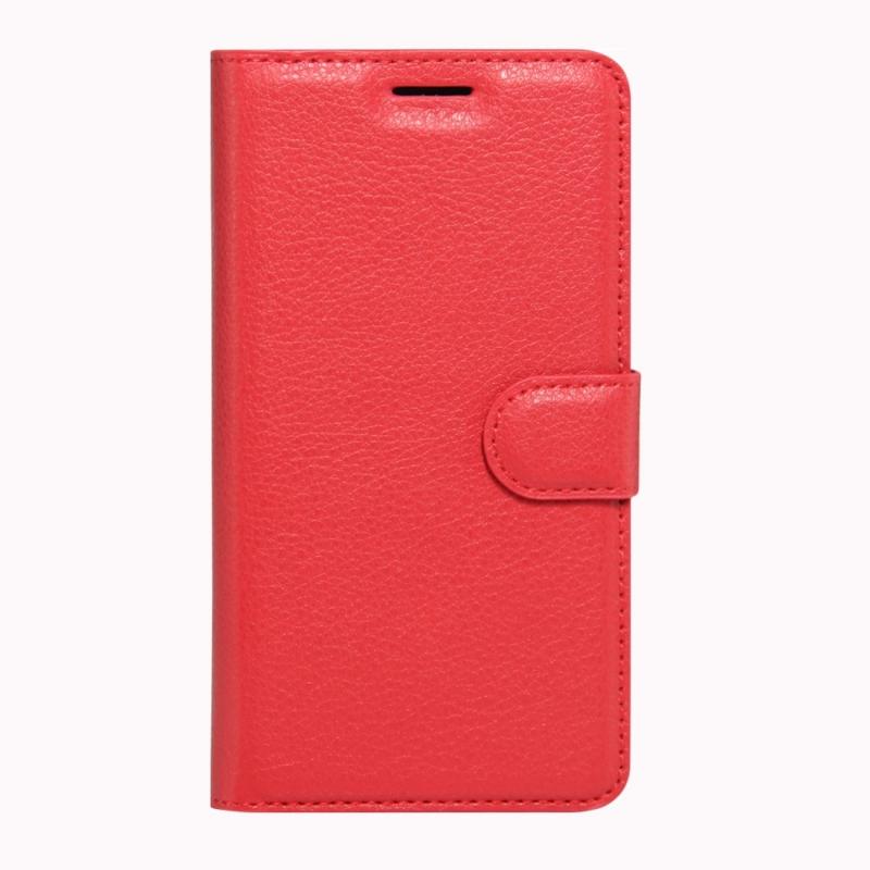 Sony Xperia XZs & XZ horizontaal Litchi structuur PU leren Flip Hoesje met houder  magnetische sluiting en opbergruimte voor pinpassen & geld (rood)