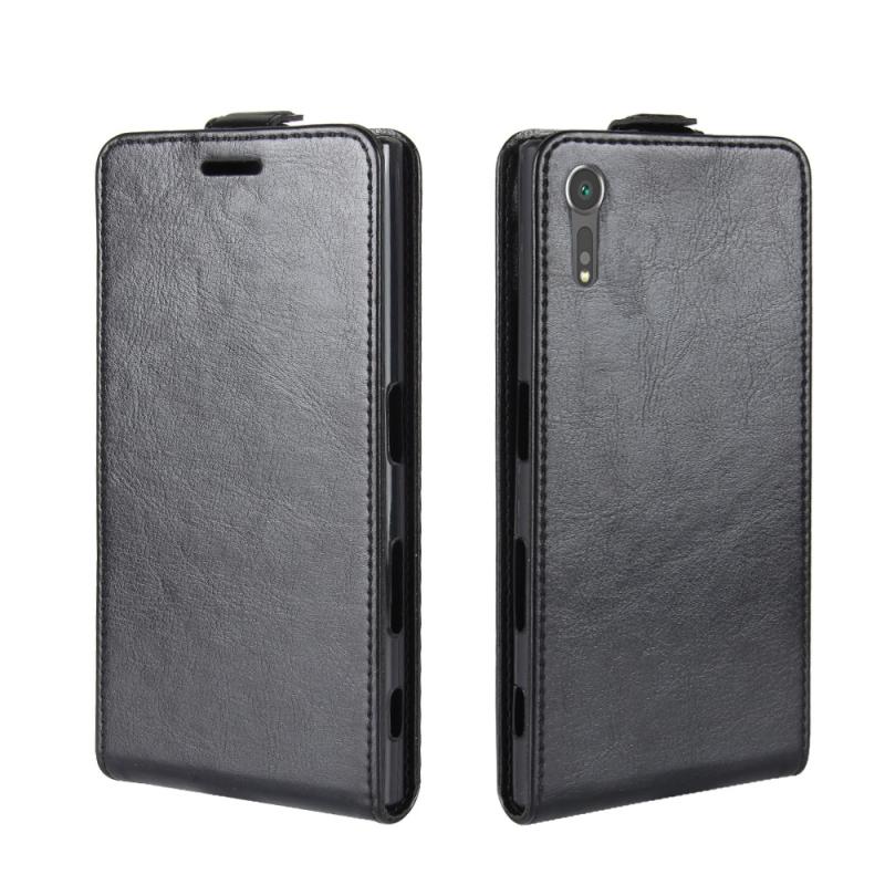 Voor Sony Xperia XZs / XZ Crazy Horse textuur verticaal flip lederen draagtas met kaartslot & Foto Frame(Black)