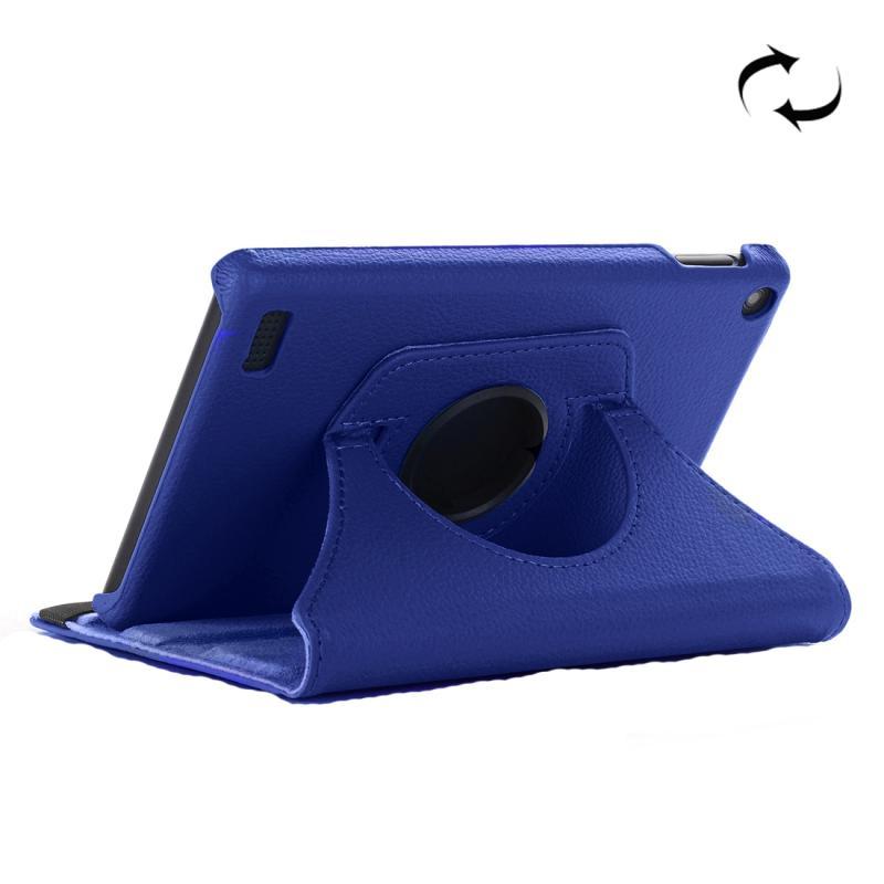 Afbeelding van Voor Amazon brand 7 (2017) Litchi Texture horizontale Flip lederen draagtas met houder (donkerblauw)