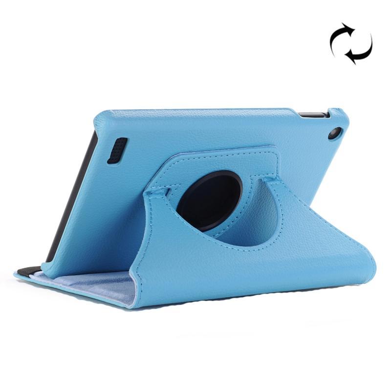 Afbeelding van Voor Amazon brand 7 (2017) Litchi Texture horizontale Flip lederen draagtas met houder (blauw)