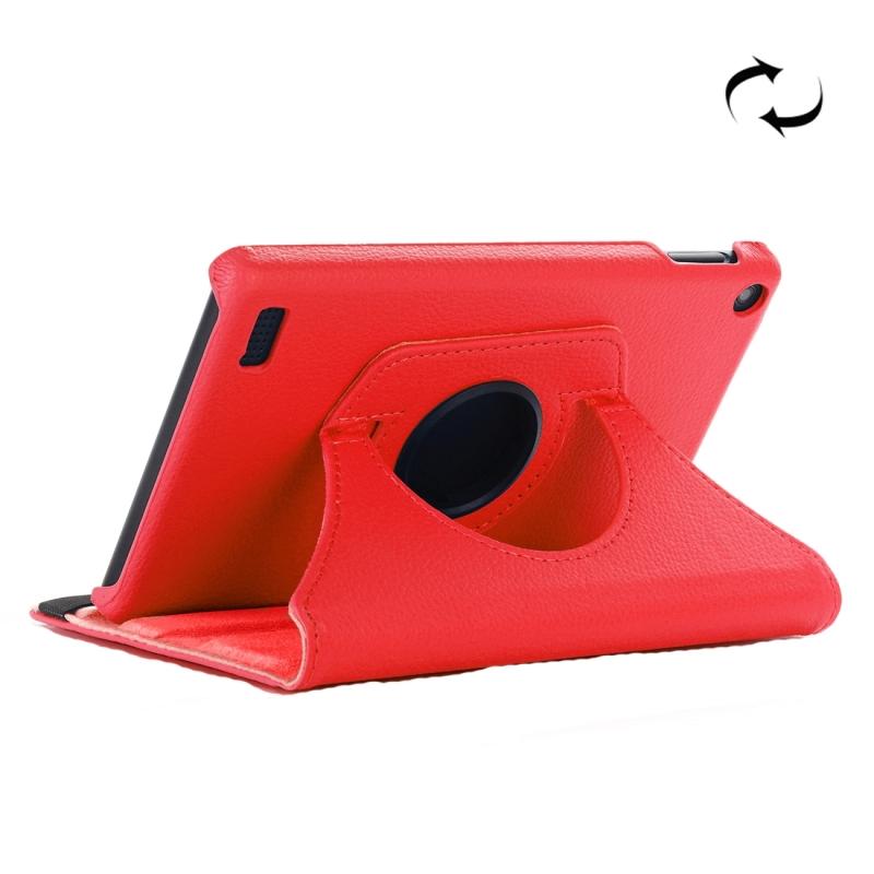 Afbeelding van Voor Amazon brand 7 (2017) Litchi Texture horizontale Flip lederen draagtas met houder (rood)