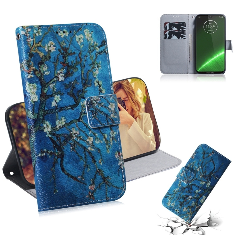Apricot Flower Pattern Coloured Drawing Horizontal Flip Leather Case for Motorola Moto G7 / Moto G7 Plus  with Holder & Card Slots & Wallet