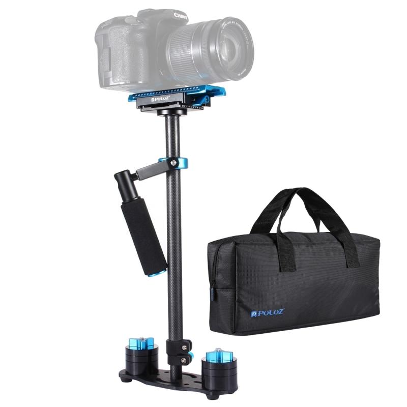 PULUZ S60T 38,5-61cm Carbon Fibre Handheld stabilisator Steadicam voor DSLR & DV-Digitale Video & camera's capaciteit bereik 0.5-3kg(Blue)