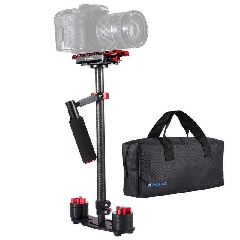 PULUZ S60T 38,5-61cm Carbon Fibre Handheld stabilisator Steadicam voor DSLR & DV-Digitale Video & camera's capaciteit bereik 0.5-3kg(Red)