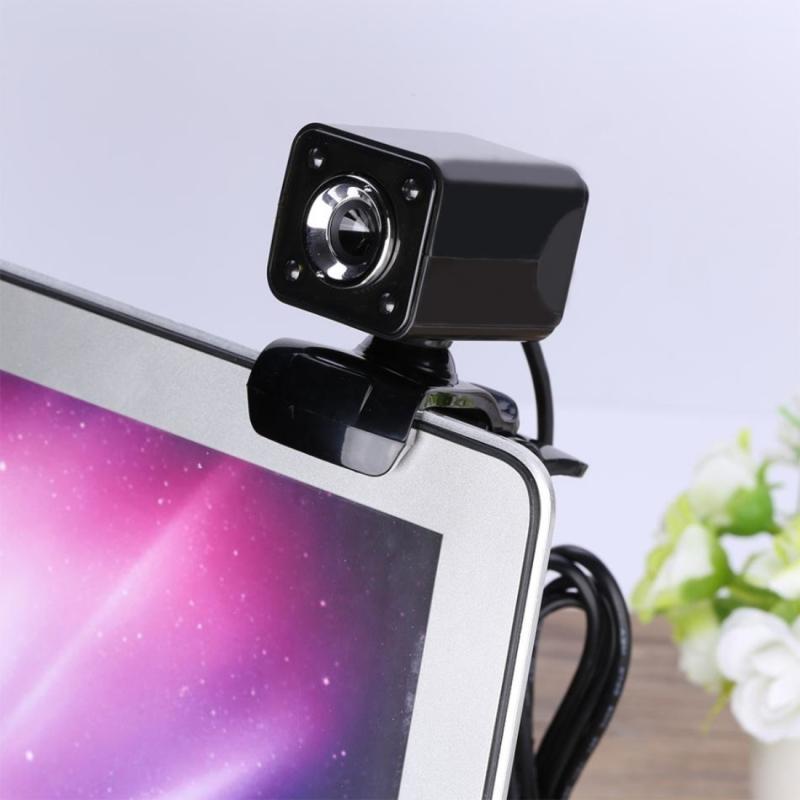 Afbeelding van A862 12.0 Megapixels HD 360 graden draaibaar USB 2.0 WebCam / PC Camera met microfoon & 4 LED lampjes voor Skype Computer PC Laptop kabel lengte: 1.4 meter