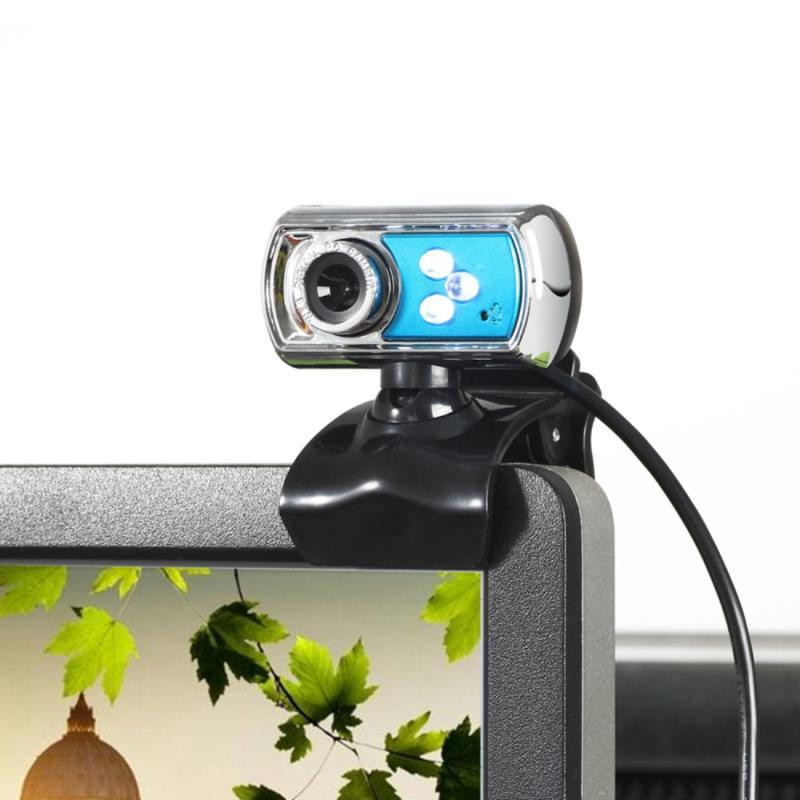 Afbeelding van A7170 12.0 Megapixels HD 360 graden draaibaar USB 2.0 WebCam / PC Camera met microfoon & 3 LED lampjes voor Skype Computer PC Laptop kabel lengte: 1.45 meter (blauw)