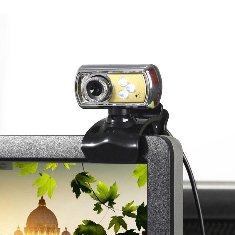 Afbeelding van A7170 360 graden draaibare 12MP HD WebCam USB draad Camera met microfoon & 3 LED verlichting voor Desktop Skype Computer PC Laptop kabel lengte: 1.45m (geel)