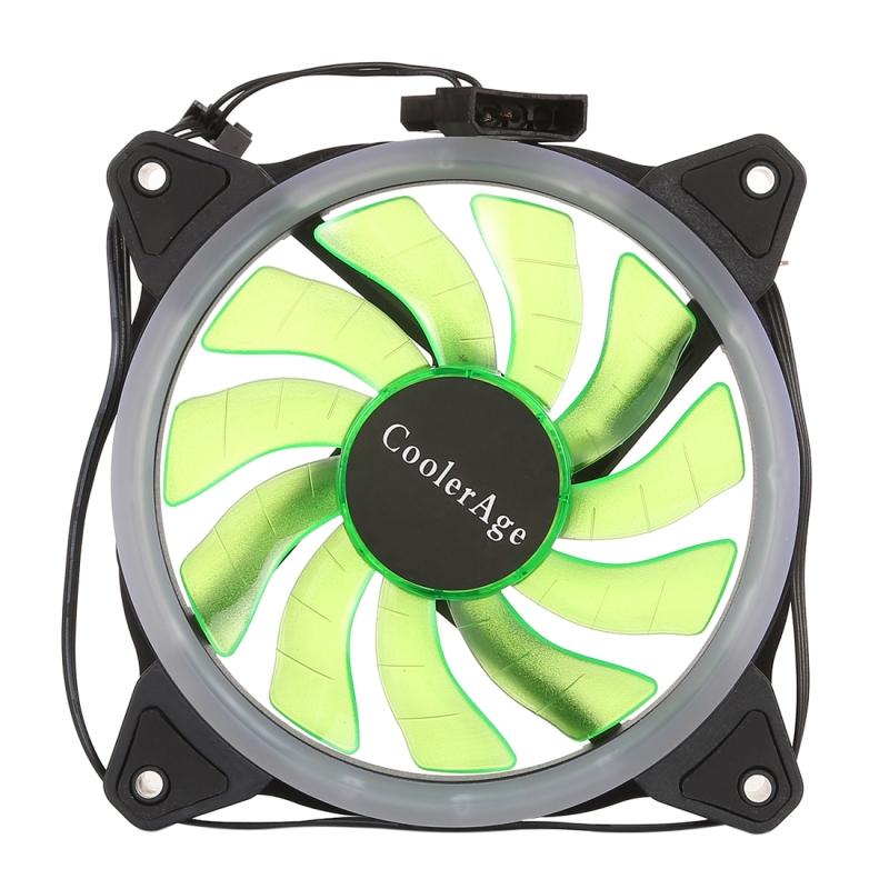 Afbeelding van Kleur LED 12cm 3pin Computer onderdelen Chassis Fan Computer als Host voor Fan stille ventilator koeling met macht aansluitkabel (groene Light)(Green)