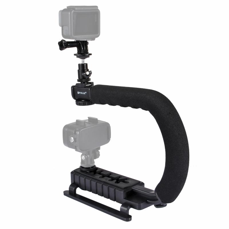PULUZ U/C vorm draagbare Handheld DV beugel stabilisator + Video Shotgun microfoon Kit met koude schoen statiefkop voor alle SLR camera's en Home DV-Camera