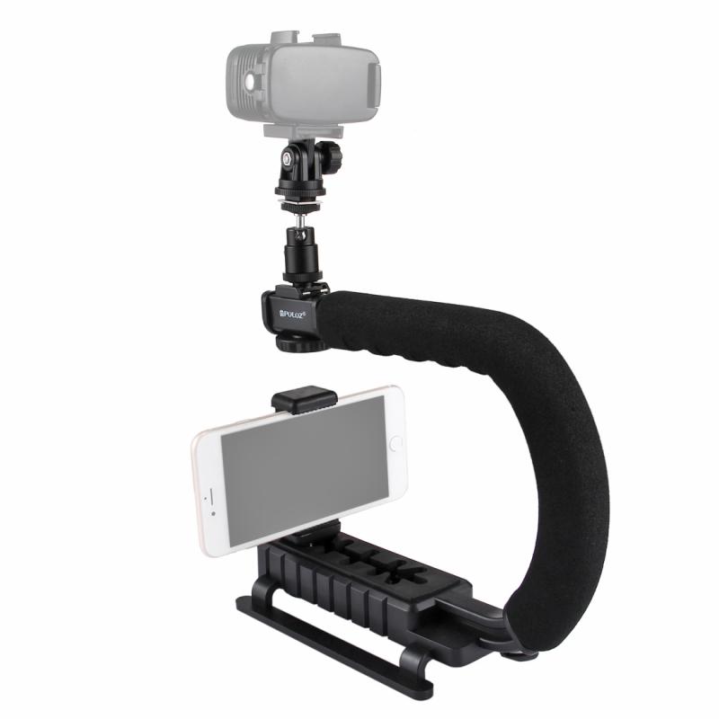 PULUZ U/C vorm draagbare Handheld DV beugel stabilisator + LED Studio Light Kit met koude schoen statiefkop voor alle SLR camera's en Home DV-Camera