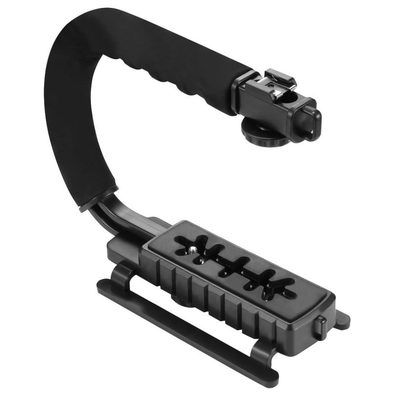 PULUZ U/C vorm draagbare Handheld DV beugel stabilisator + LED Studio licht + Video Shotgun microfoon Kit met koude schoen statiefkop voor alle SLR camera's en Home DV-Camera