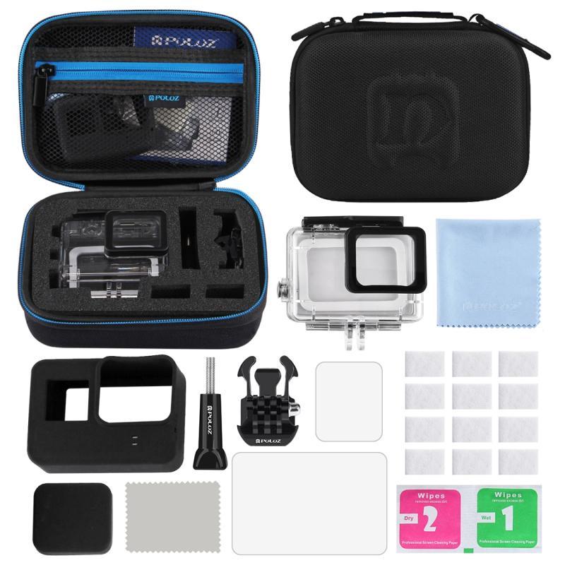 PULUZ 12 in 1 surfen accessoires Combo Kits met kleine EVA hoesje (Diving hoesje + siliconen hoesje Lens HD scherm beschermings + LCD Dispaly getemperd glas Film + anti-mist Inserts + schone kleding) voor GoPro  HERO 6 /5