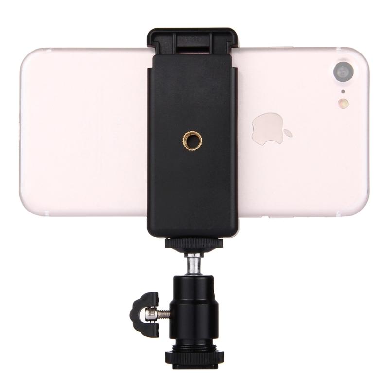 PULUZ 1/4 inch Hot Shoe statiefkop + statief Stand klem voor iPhone Samsung Huawei HTC Smartphones van 5 5 cm - 8cm breedte