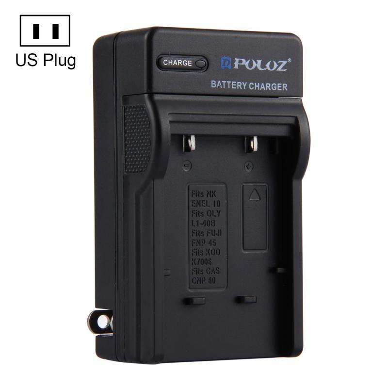 PULUZ VS Plug batterijoplader voor Nikon EN-EL10 Olympus LI-40B FUJI FNP-45 Kodak K7006 CASIO CNP80 batterij