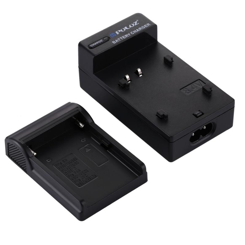 PULUZ EU Plug acculader met kabel voor Sony NP-F550 / F750 / F960 / FM50 / FM70 / FM90 / QM91D Panasonic VBD1 / VBD2 JVC V607u / V617u accu