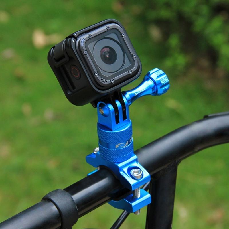 PULUZ 360 graden draaiend aluminium stuur Adapter stuurhouder met schroeven voor  GoPro HERO 7 / 6 / 5 / 5 session / 4 session / 4 / 3+/ 3 / 2 / 1   Xiaoyi Sport Camera(blauw)