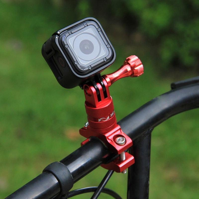 PULUZ 360 graden draaiend aluminium stuur Adapter stuurhouder met schroeven voor  GoPro HERO 7 / 6 / 5 / 5 session / 4 session / 4 / 3+/ 3 / 2 / 1   Xiaoyi Sport Camera(rood)