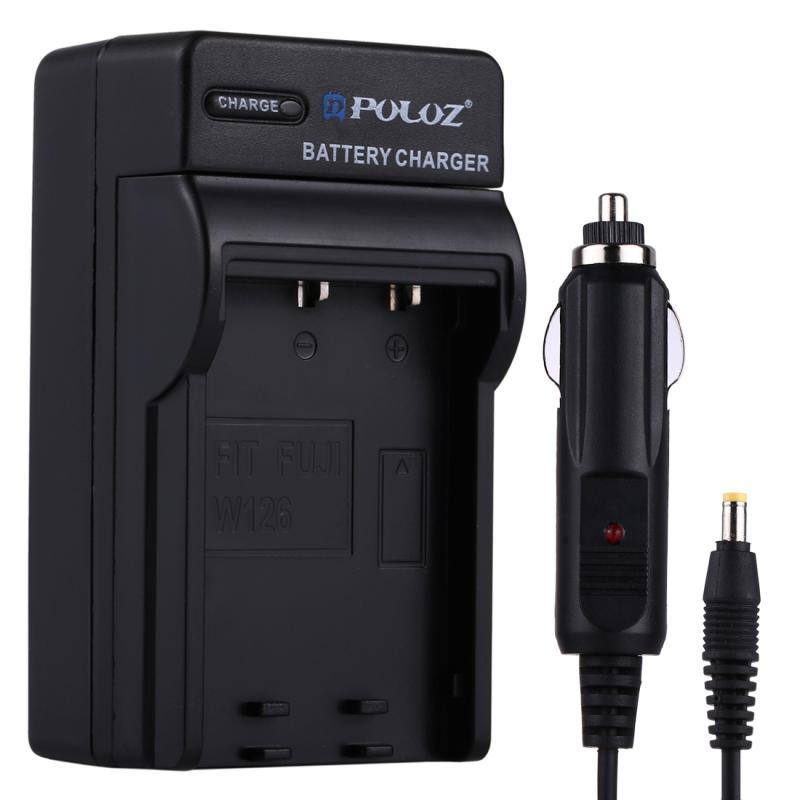 PULUZ 2-in-1 Digitale Camera batterij autolader voor Fujifilm NP-W126 batterij