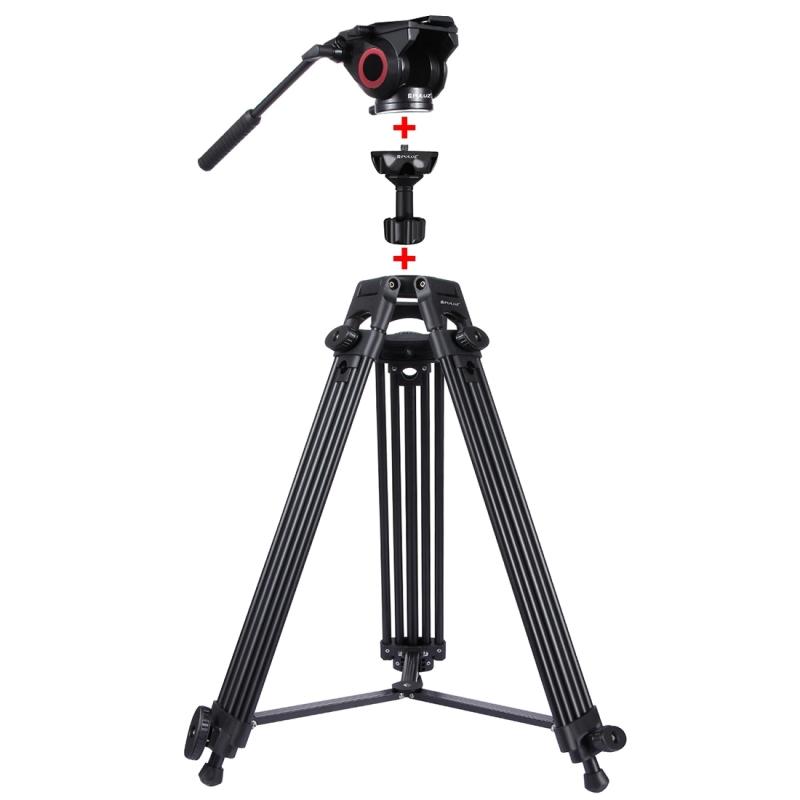 PULUZ Stevige Professionele Video Camcorder Aluminium Tripod Statief Standaard met vloeistof dempend statiefhoofd voor DSLR / SLR Camera, Verstelbare hoogte: 62-160 cm