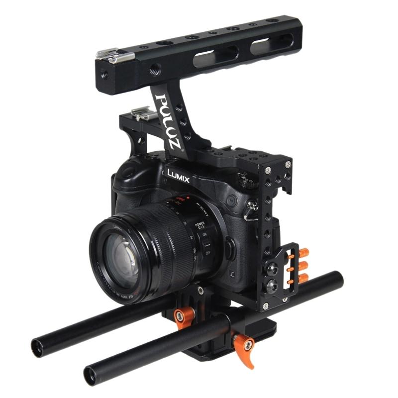 PULUZ handvat videocamera kooi Steadicam stabilisator voor Sony A7 & A7S & A7R & A7R II & A7S II Panasonic Lumix DMC-GH4(Orange)