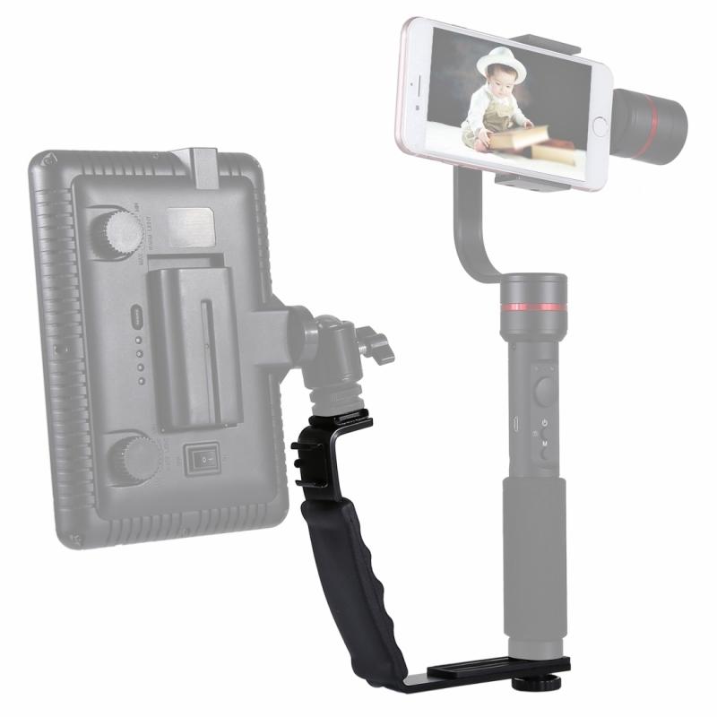 PULUZ L-vormige beugel Handheld Grip houder met Dual Side Hot Shoe Mounts voor Video licht Flash DSLR Camera