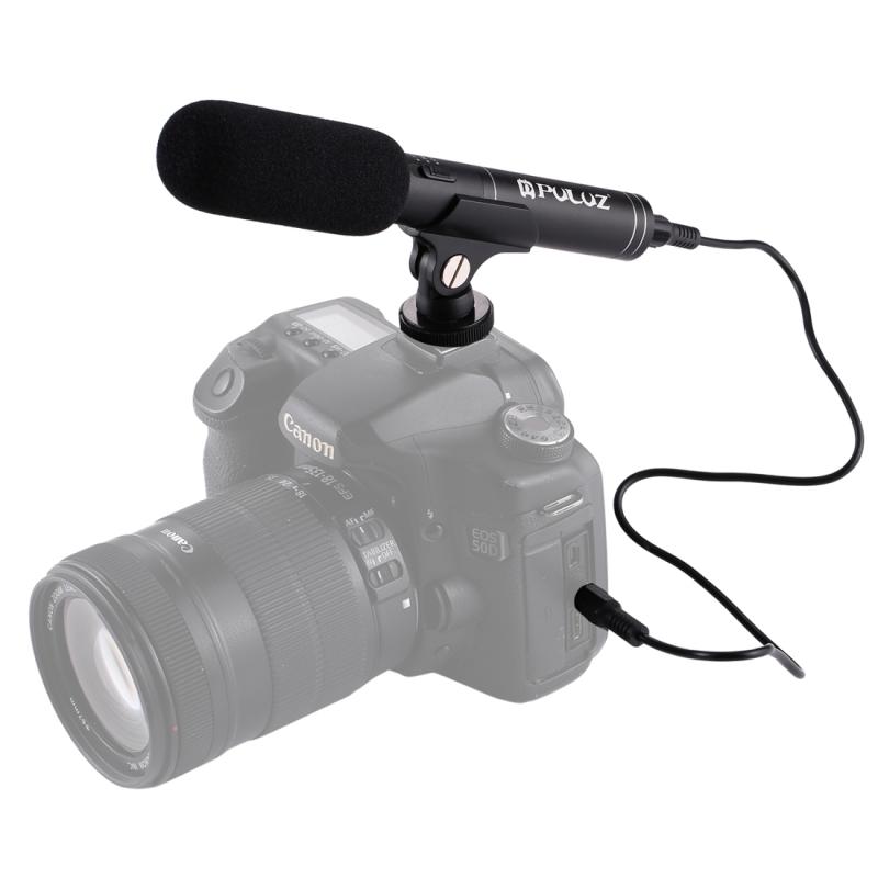 PULUZ professionele Interview Video Shotgun condensatormicrofoon met-audiokabel van 3,5 mm voor DSLR & DV-Camcorder
