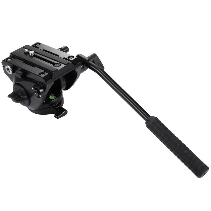 PULUZ Stevig Soepel lopend statiefhoofd met 75mm Balhoofd & Snelkoppel Plaat voor DSLR Camera (zwart)