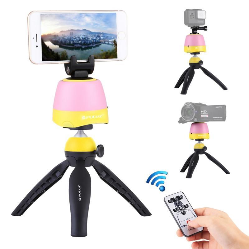PULUZ elektronische 360 graden rotatie panoramisch statiefkop + statief-Mount Clamp van GoPro + telefoon klem met afstandsbediening voor Smartphones GoPro DSLR Cameras(Yellow)
