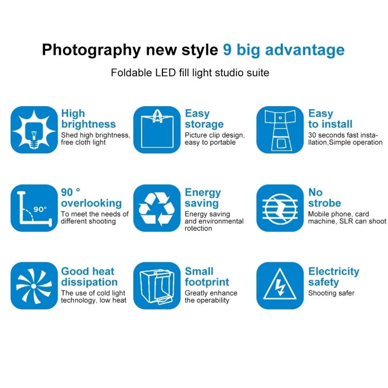 PULUZ 60cm vouwen draagbare 60W 2 x 1690LM 5500K wit licht verlichting fotostudio fotograferen Tent Box Kit met 3 kleuren achtergronden (zwart oranje wit) grootte: 60 cm x 60 cm x 60 cm UK stekker