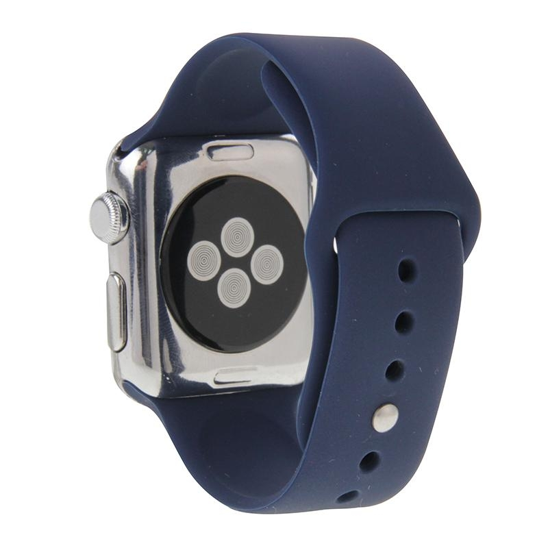Afbeelding van Voor de Apple Watch Sport 38mm High-performance Rubber Sport horlogeband met Pin-en-tuck sluiting (donkerblauw)