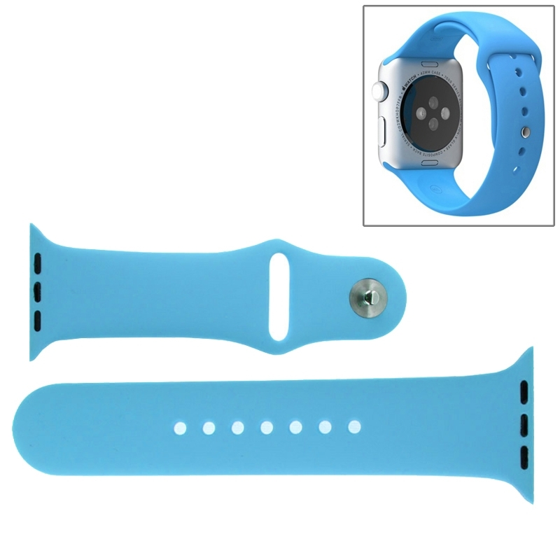 Afbeelding van Voor de Apple Watch Sport 38mm High-performance Rubber Sport horlogeband met Pin-en-tuck Closure(Blue)