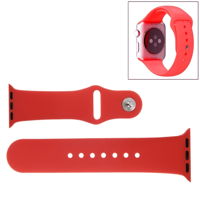 Afbeelding van Voor de Apple Watch Sport 38mm High-performance Rubber Sport horlogeband met Pin-en-tuck Closure(Red)