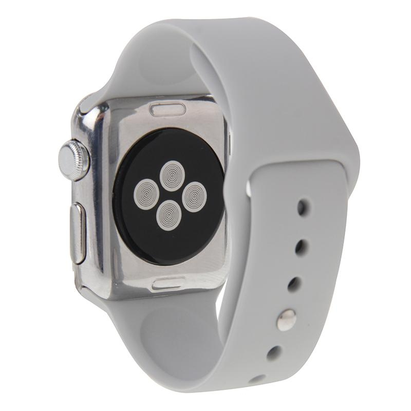 Afbeelding van Voor de Apple Watch Sport 38mm High-performance Rubber Sport horlogeband met Pin-en-tuck Closure(Silver)