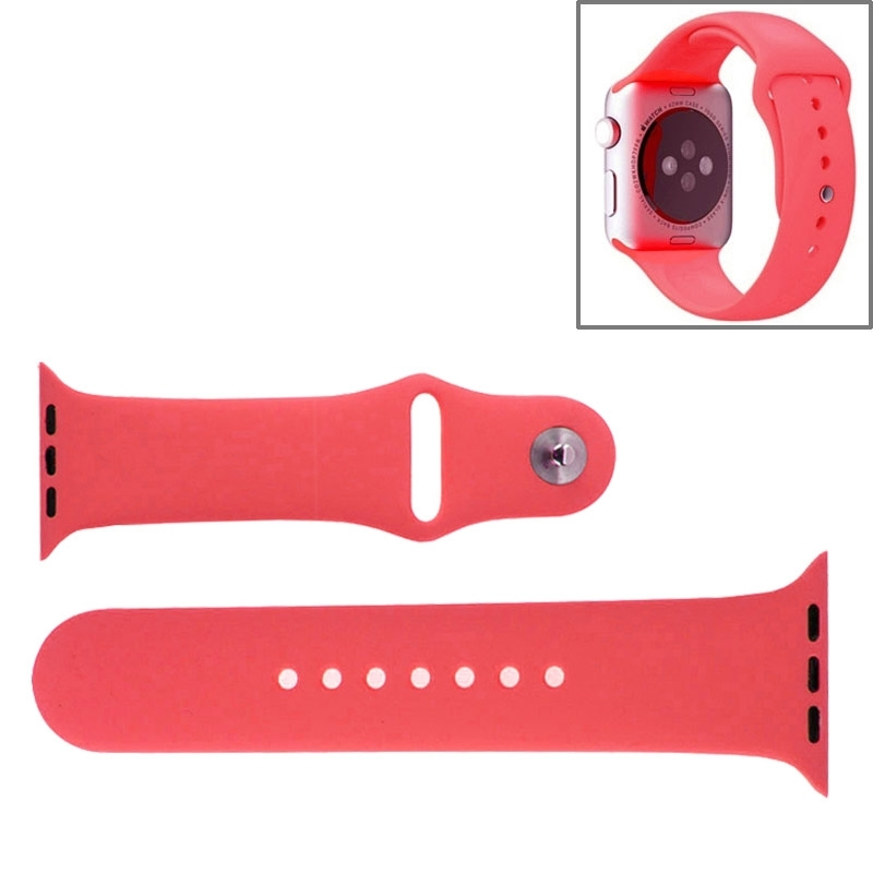 Afbeelding van Voor de Apple Watch Sport 42mm High-performance Rubber Sport horlogeband met Pin-en-tuck Closure(Pink)