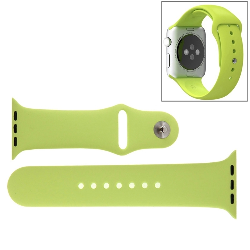 Afbeelding van Voor de Apple Watch Sport 42mm High-performance Rubber Sport horlogeband met Pin-en-tuck Closure(Green)
