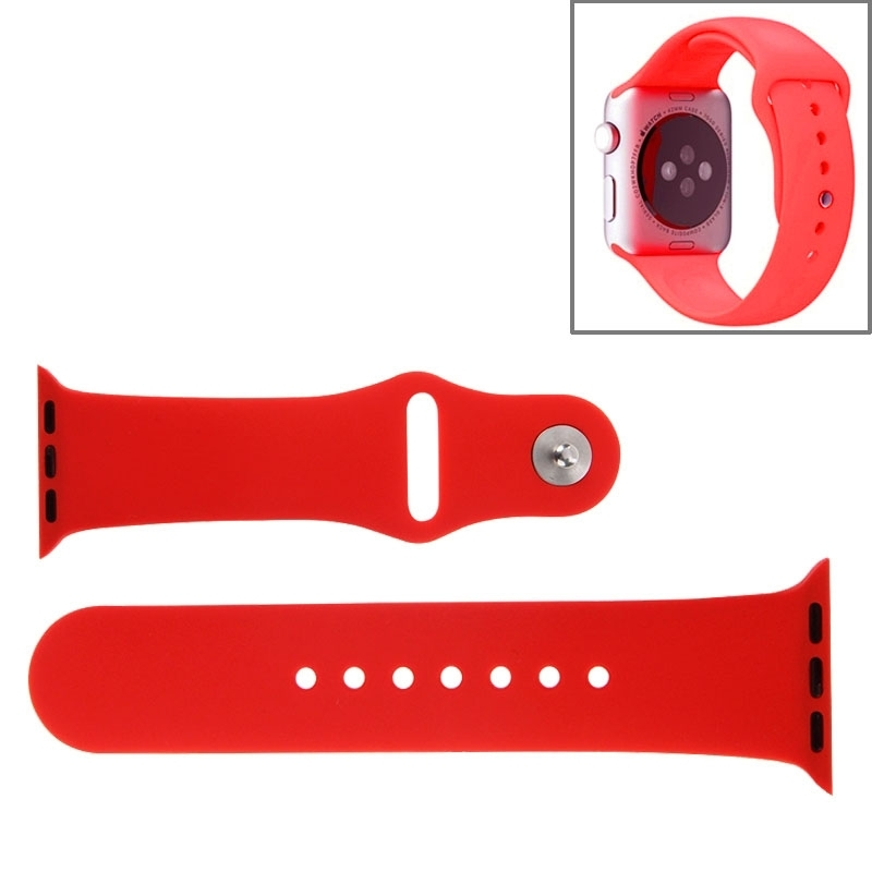 Afbeelding van Voor de Apple Watch Sport 42mm High-performance Rubber Sport horlogeband met Pin-en-tuck Closure(Red)