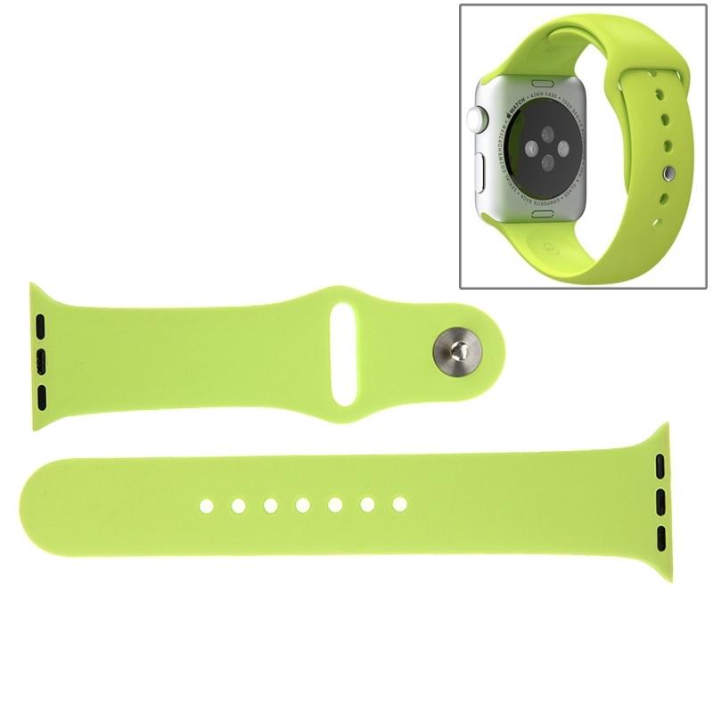 Afbeelding van Voor de Apple Watch Sport 38mm High-performance langer siliconen Sport horlogeband met Pin-en-tuck Closure(Green)