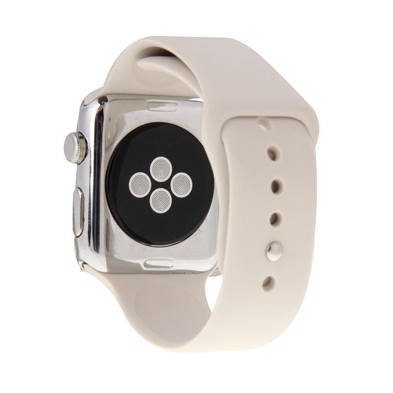 Afbeelding van Voor de Apple Watch Sport 38mm High-performance langer siliconen Sport horlogeband met Pin-en-tuck Closure(Beige)