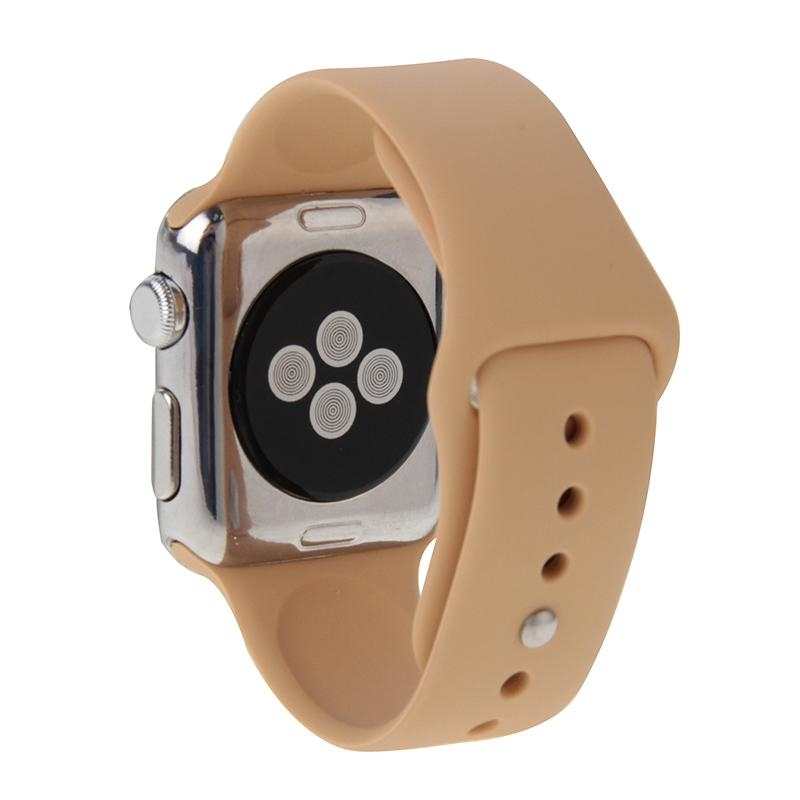 Afbeelding van For Apple Watch Sport 38mm High-performance Longer Silicone Sport Watchband with Pin-and-tuck Closure(Khaki)