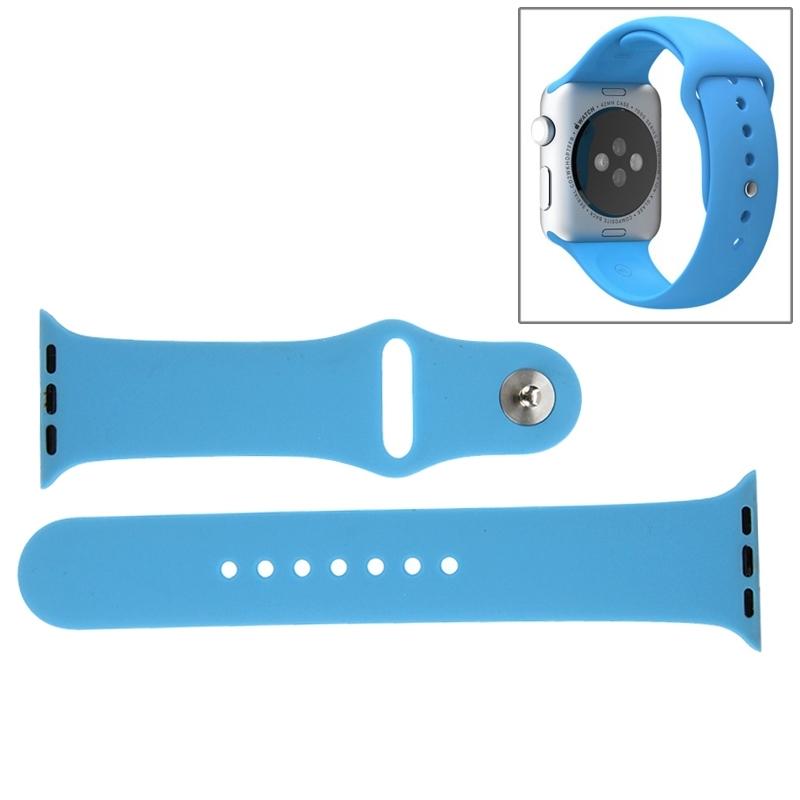 Afbeelding van Voor de Apple Watch Sport 38mm High-performance langer siliconen Sport horlogeband met Pin-en-tuck Closure(Blue)
