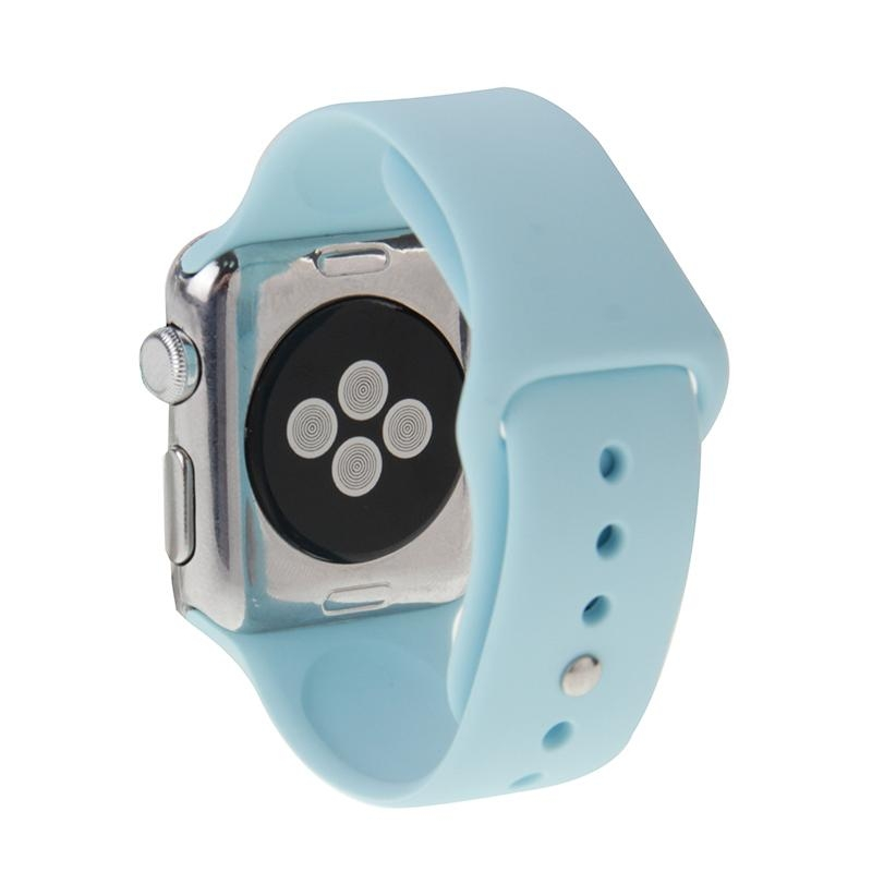 Afbeelding van For Apple Watch Sport 38mm High-performance Longer Silicone Sport Watchband with Pin-and-tuck Closure(Baby Blue)