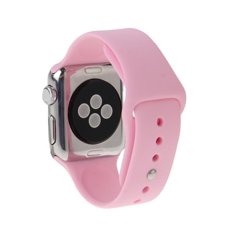 Afbeelding van Voor de Apple Watch Sport 42 mm High-performance langer Rubber Sport horlogeband met Pin-en-tuck sluiting (Baby roze)
