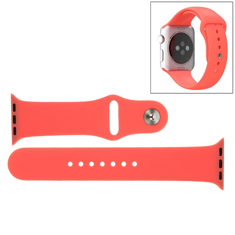 Afbeelding van For Apple Watch Sport 42mm High-performance Longer Rubber Sport Watchband with Pin-and-tuck Closure(Rose Red)