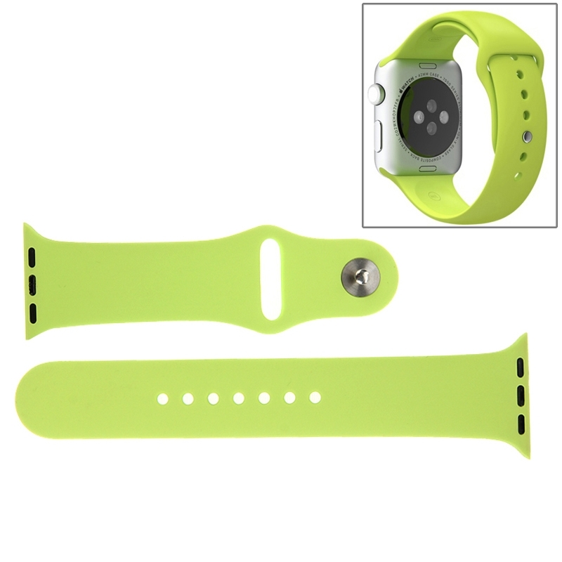 Afbeelding van For Apple Watch Sport 42mm High-performance Longer Rubber Sport Watchband with Pin-and-tuck Closure(Green)