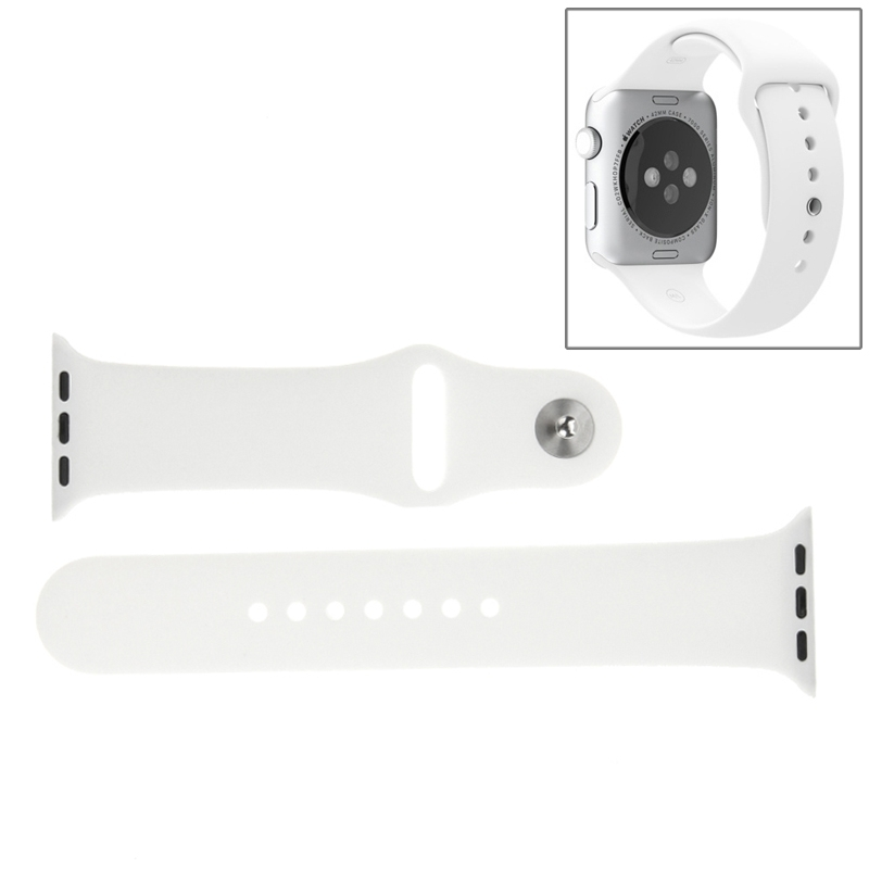 Afbeelding van For Apple Watch Sport 42mm High-performance Longer Rubber Sport Watchband with Pin-and-tuck Closure(White)