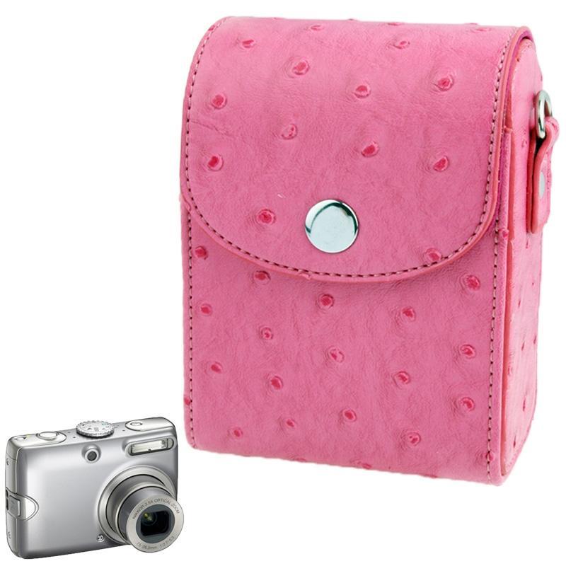 Universele Struisvogelleren structuur Mini Camera Draagtas met Draagriem (hard roze)