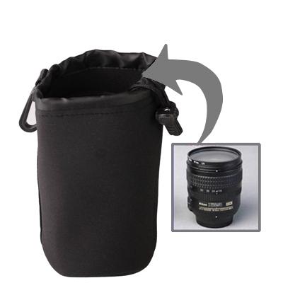 Neopreen slr cameralens zak zak medium uitvoering voldaan clip (10x18cm)
