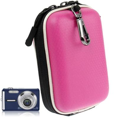 universeel mini digitale lederen cameratas, afmeeting: 130 x 85 x 55 mm (hard roze)