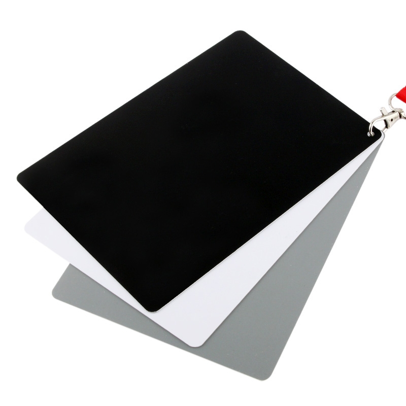 3 in 1 Zwart Wit Grijs Balans / Digitale Grijs Kaart Set met handriem, werkt met iedere Digitale Camera, Bestandsformaat: RAW en JPEG